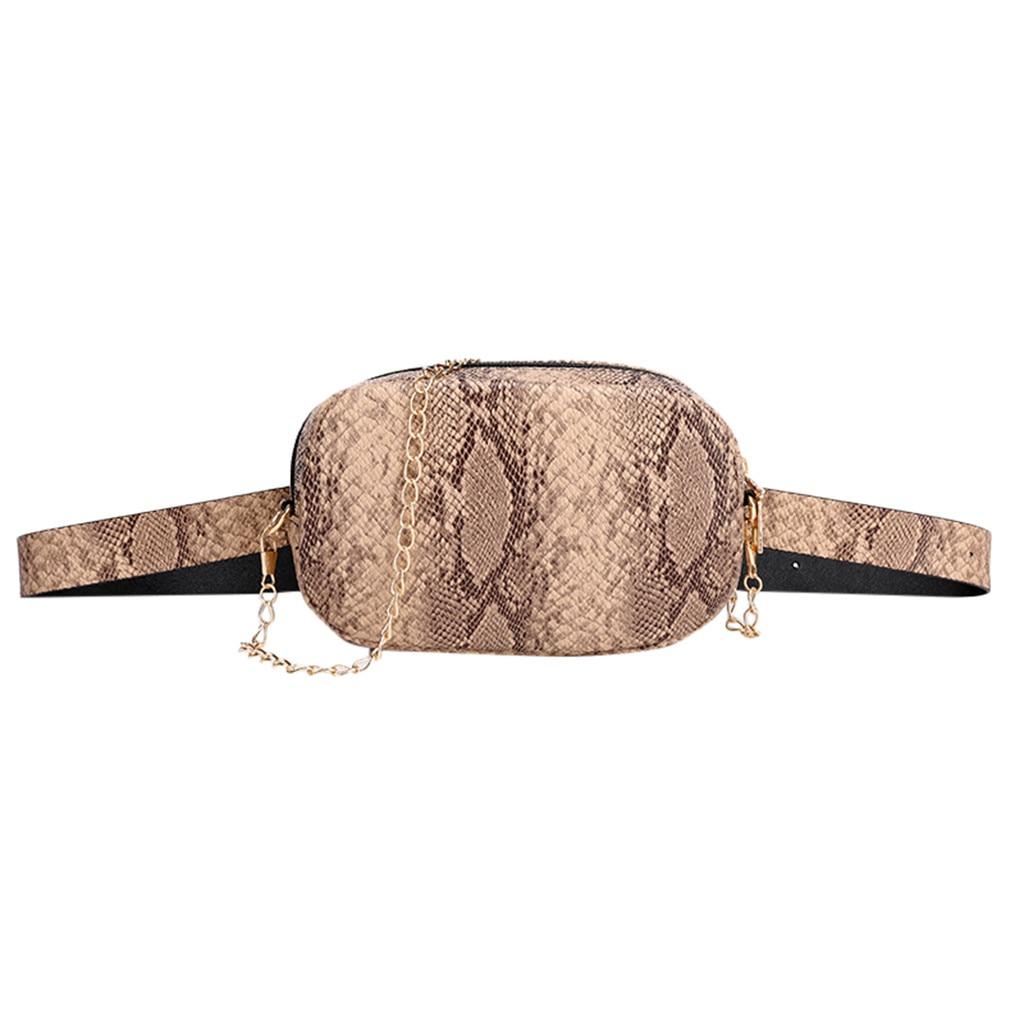 Fashion Snake Print Belt Bag Women Serpentine PU Leather Waist Bags Female Fanny Pack #3