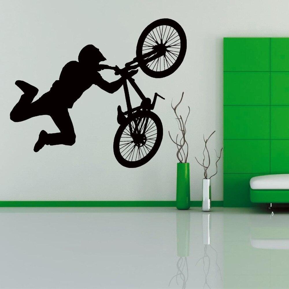 Kunst Bmx Stunt Fahrrad Vinyl Wandaufkleber Teens Junge schlafzimmer ...