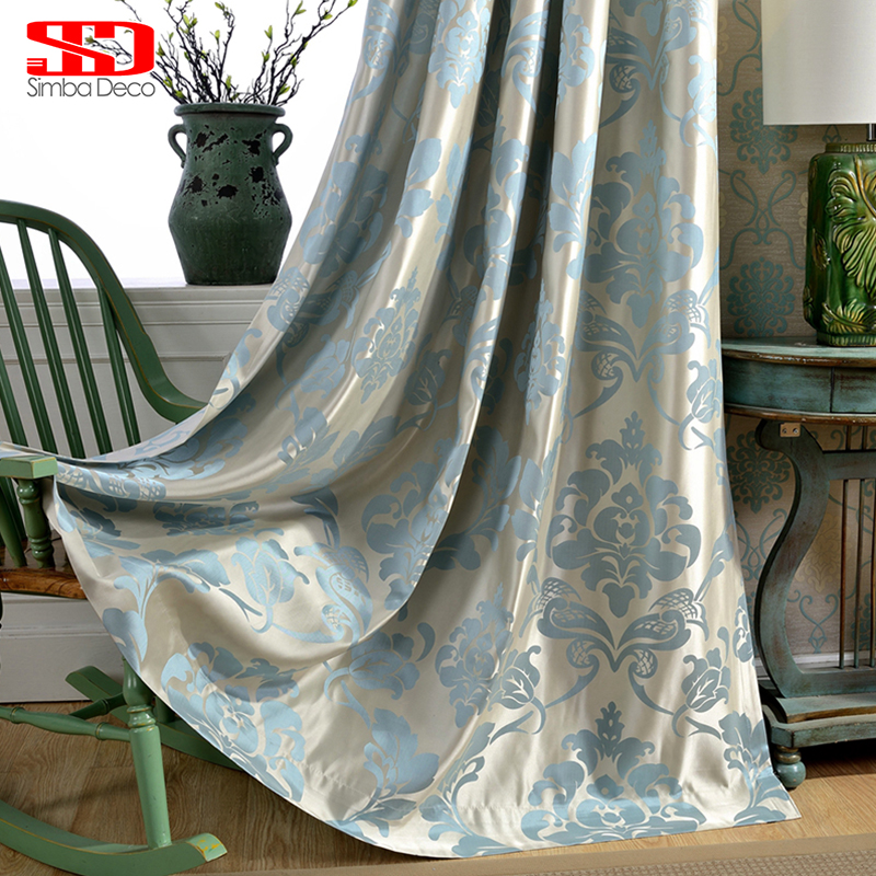Damask Blue Fabric Gardiner För Vardagsrum Jacquard Blackout Luxury Gardiner För Sovrum Custom Blinds Window Shading 70% Panel