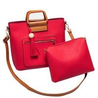 2Pcs Set Handbags Women Messenger Shoulder Bag Female Purse Clutch Office Lady Casual Tote Leather Top
