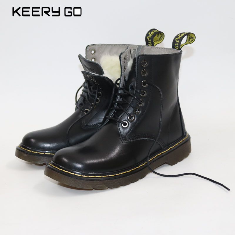 The new high-end leather lace up boots Martin side zipper comfort women boots