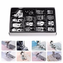 New 16Pcs Domestic Sewing Machine Accessories Presser Foot Feet Kit Set Hem Foot Spare Parts With Box For Brother Singer Janome