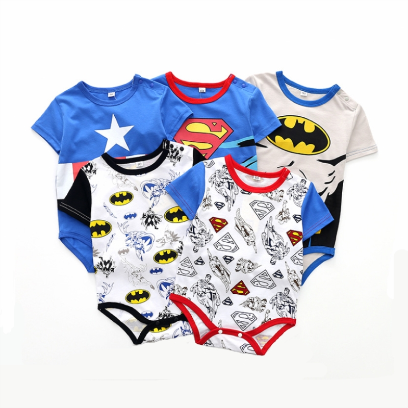 Bebe Clothes Superman Costume 2019 Summer Short Sleeve Jumpsuit Cool Climbing Clothing Blue Star Captain America Short Outfit