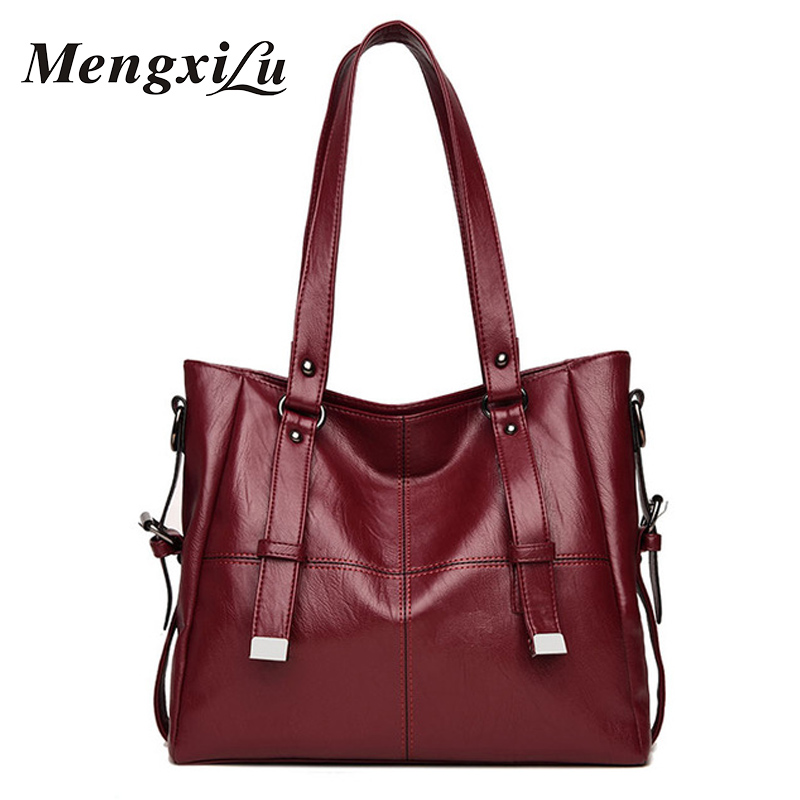 MENGXILU Patchwork Women Shoulder Bags Large Capacity Women Handbags High Quality PU Leather Women Bags Big Casual Tote Bags цена