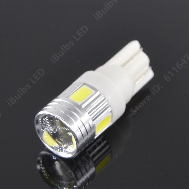 10PCS High Quality T10 W5W 6 LEDs 194 501 Auto 5630 SMD Car Interior lights Clearance Lamp Wedge Light DC 12V Lens