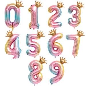Image 2 - 大 32 インチヘリウム空気桁図ビッグクラウン番号箔バルーン誕生日パーティーの装飾