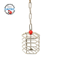 CAITEC Bird Toys Parrot Stainless Steel Multi-function Foraging Cage Parrot Feed Device Food Basket Bird Feeders Bite Resistant kl 125 multi function feed granulator 60kg h high efficiency household animal feed food pellet making machine 220v 4kw hot sale