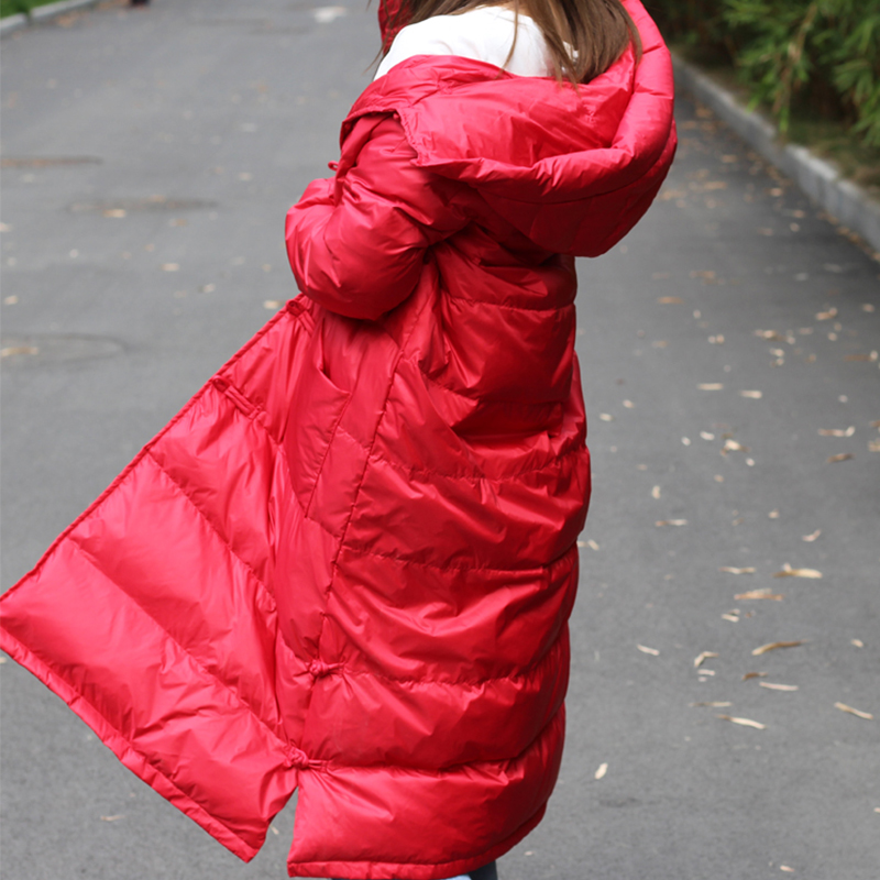 New Womens Winter Long Down Jackets 90% White Duck Down Parkas Feminina Thicker Down Coats Hooded Jacket Chinese Knot Button