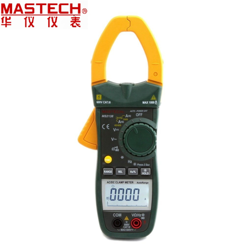 2017 New MASTECH MS2138 AC DC Voltage Current Clamp Meter (0-1000A)/Hz Duty Cycle Cap Tester Auto Range цена