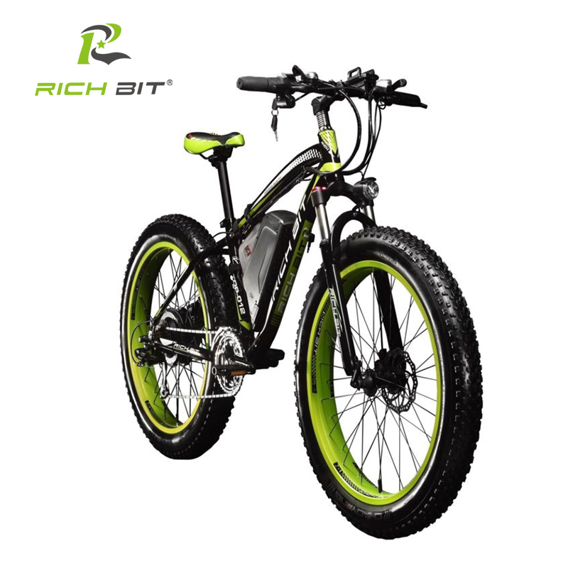 RichBit New 7 speeds Electric Fat Tire Bike 48V 1000W Lithium Battery Electric Snow Bike 48V 17AH Electric Mountain Bicycle