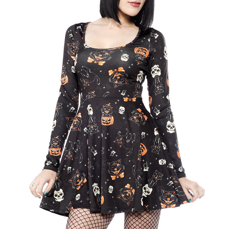 Womens Tunic Dress Halloween Skull Ghost Print Swing Ladies Party Wear Crew Neck