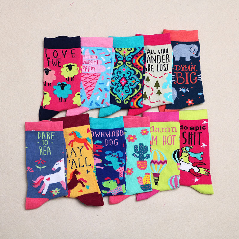 Fashion Happy Socks Cotton Soft Sox Beautiful Curve Men Funny Women Ladies Girls Art Socks