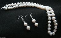 10X10 jewerly livraison gratuite NOUVELLE Mode de Dame Bijoux 7-8mm Riz Perle D'eau Douce Collier Boucles D'oreilles ensemble 18
