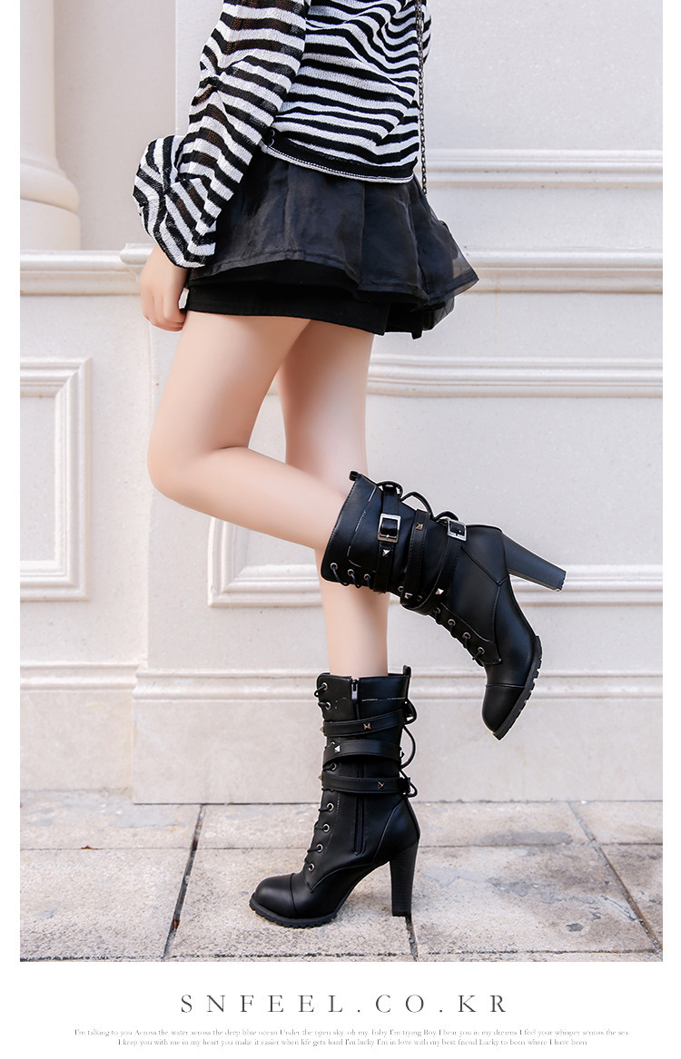 HUANQIU 2019 fashion ladies boots spring zipper rivet thick middle boots high heel Martin boots large size 43 women shoes ZLL675 16