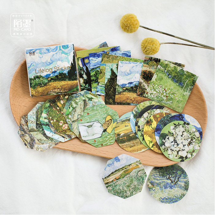 45pcs Vincent Van Gogh Starry Night Washi Paper Sticker Flakes Flowers Art Stickers Scrapbooking Stationery Diary Decor