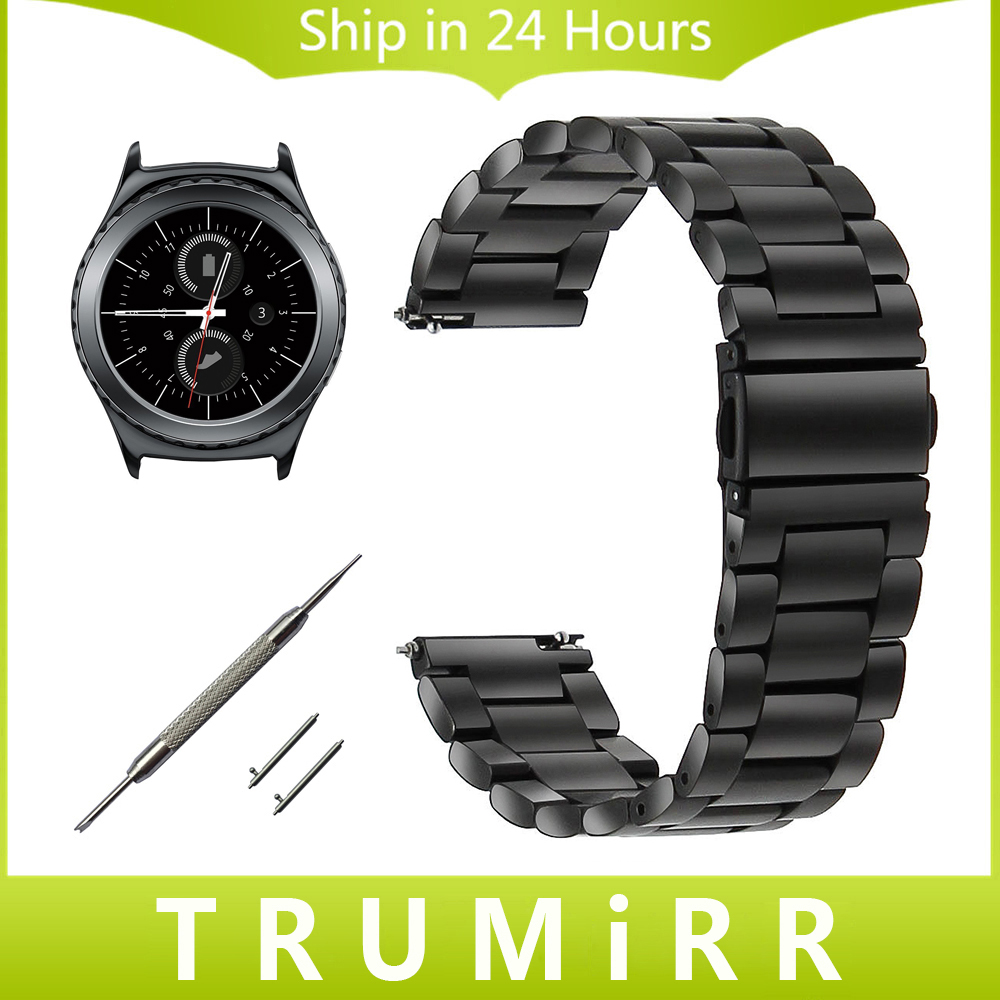 20mm Stainless Steel Watch Band for Samsung Gear S2 Classic R732 / R735 Moto 360 2 42mm Men Quick Release Strap Wrist Bracelet soft 18mm 20mm 22mm quick release installation watch strap silicone rubber for moto 360 2 samsung gear s2 classic wrist band