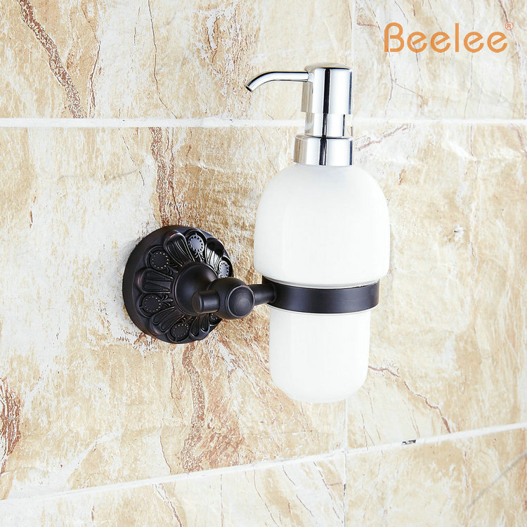 Beelee BA4120B Luxury Crystal Wall Mounted Liquid Soap Dispenser With Frosted Glass Container/bottle  Oil Rubbed Bronze