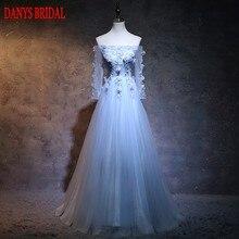 Light Sky Blue Long Sleeve Evening Dresses Party Off Shoulder Beautiful Women  Prom Formal Evening Gowns Dresses On Sale 05ecaf1ca38d