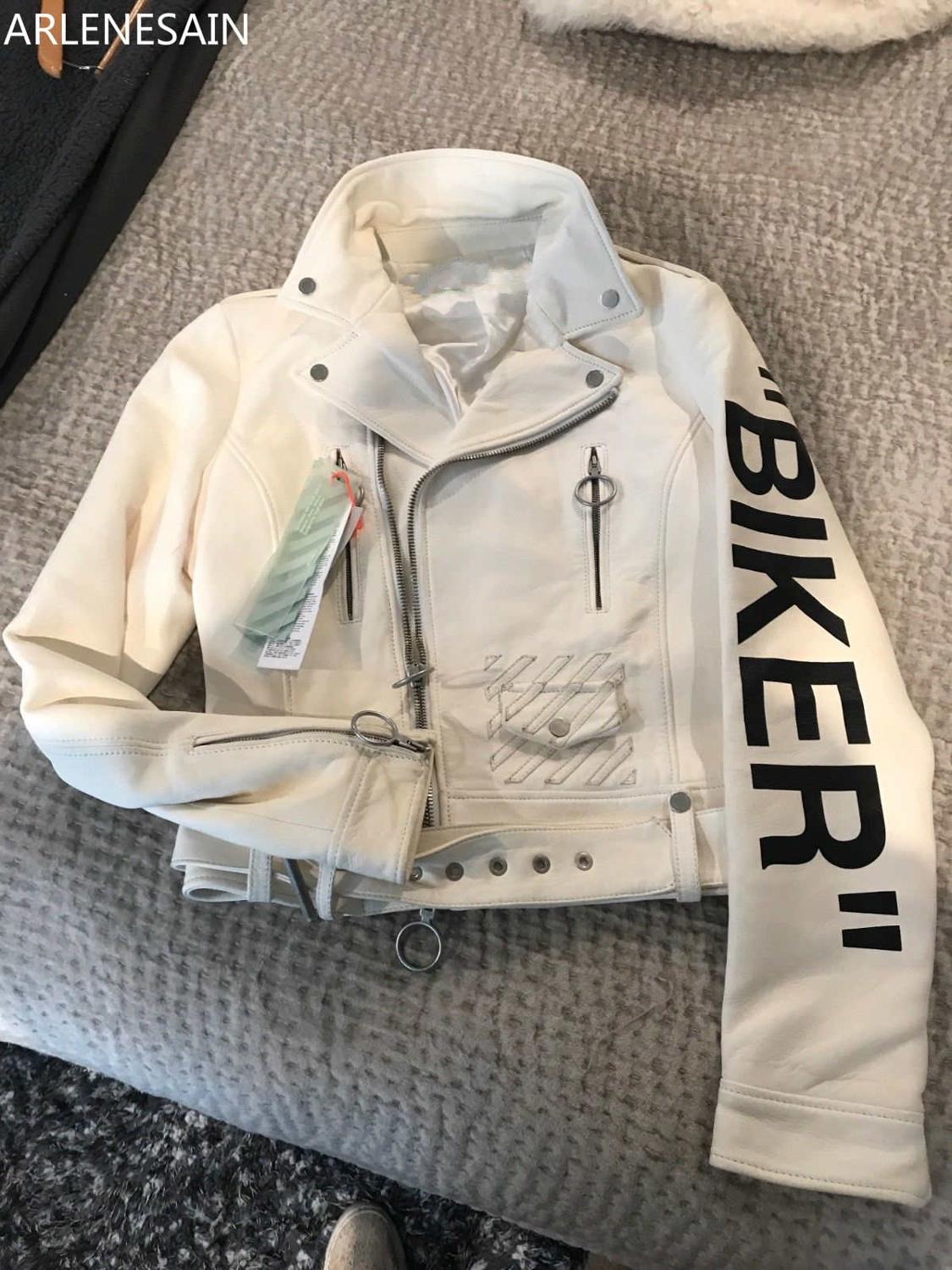 "Arlenesain Custom 2019 New Fashion Off-white Women's Leather Jacket ""Biker"" Style Cool Splendid Women Jacket"