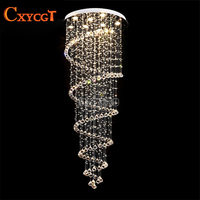 Modern Long LED Spiral Living Crystal Chandeliers Lighting Indoor Fixture for Staircase Stair Lamp Showcase Bedroom Hotel Hall