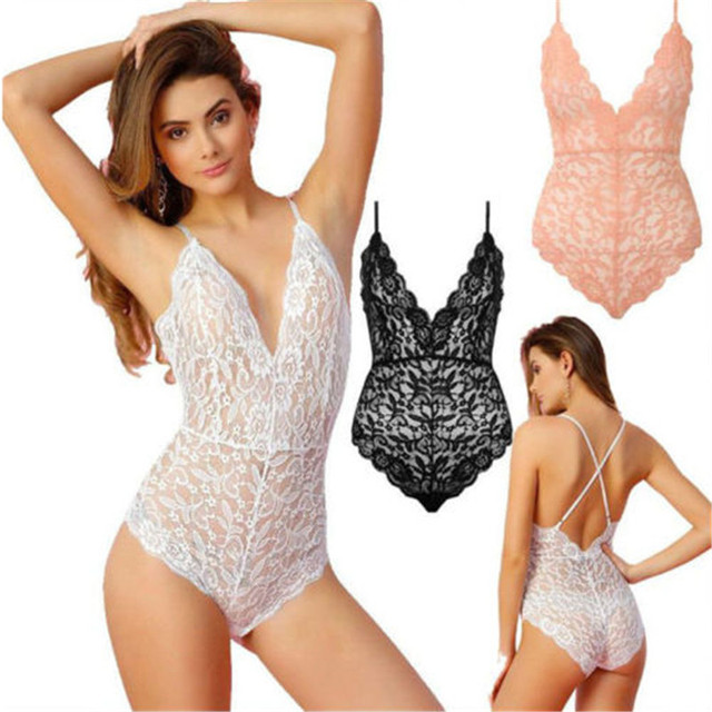 Women Bodysuit Bodycon Stretch Sexy Tops one-pieces New Fashion Strappy  Plunge V-Neck sleeveless Full Lace Cross Back Costume 341b7e719