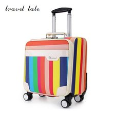 "Travel tale The colours of the rainbow PU 18"" Rolling Luggage Spinner brand Travel Suitcase Fashion travel(China)"