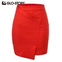 GLO-STORY Phụ Nữ Váy 2018 Mới Đến Cổ Điển Ngắn Designer Pencil Váy Bọc Front Asymmetrical Mini Skirt WQZ-1402