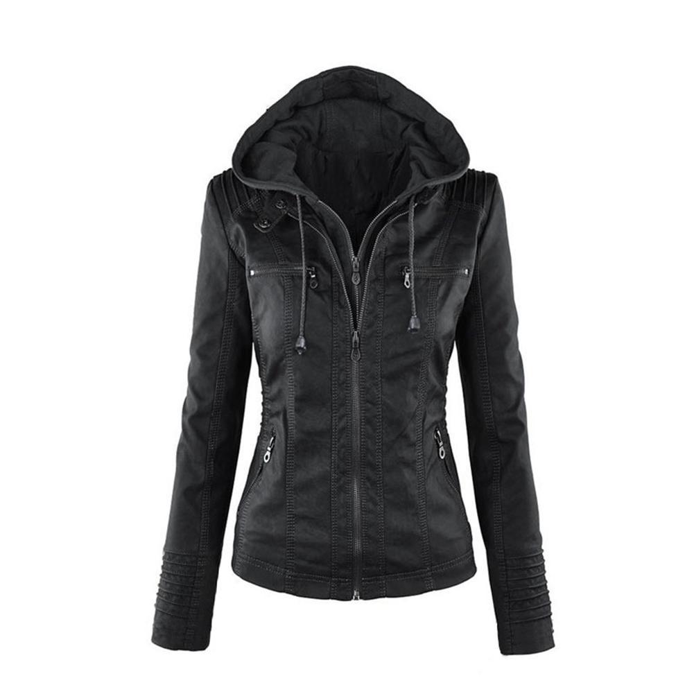Femmes Veste Capuchon Outwear Missky La En Mode black brown À Manches Zipper Manteau Beige apricot Cuir Pu Longues 5AcjL3Rq4