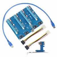 PCI E Adapter Card 1 To 4 1X To 16X Riser Mining Card Connector For PC
