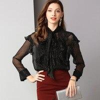 black chiffon floral blouse 5xl chiffon shirts casual bohemian women's blouses and tops ladies summer 2019 sexy loose lotus trim
