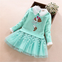 Kids Baby Girls Clothes Sets 2017 New princess High Qulity Cartoon girl Print Sweater T shirt + dress Outfit  Children Suit 4-9Y