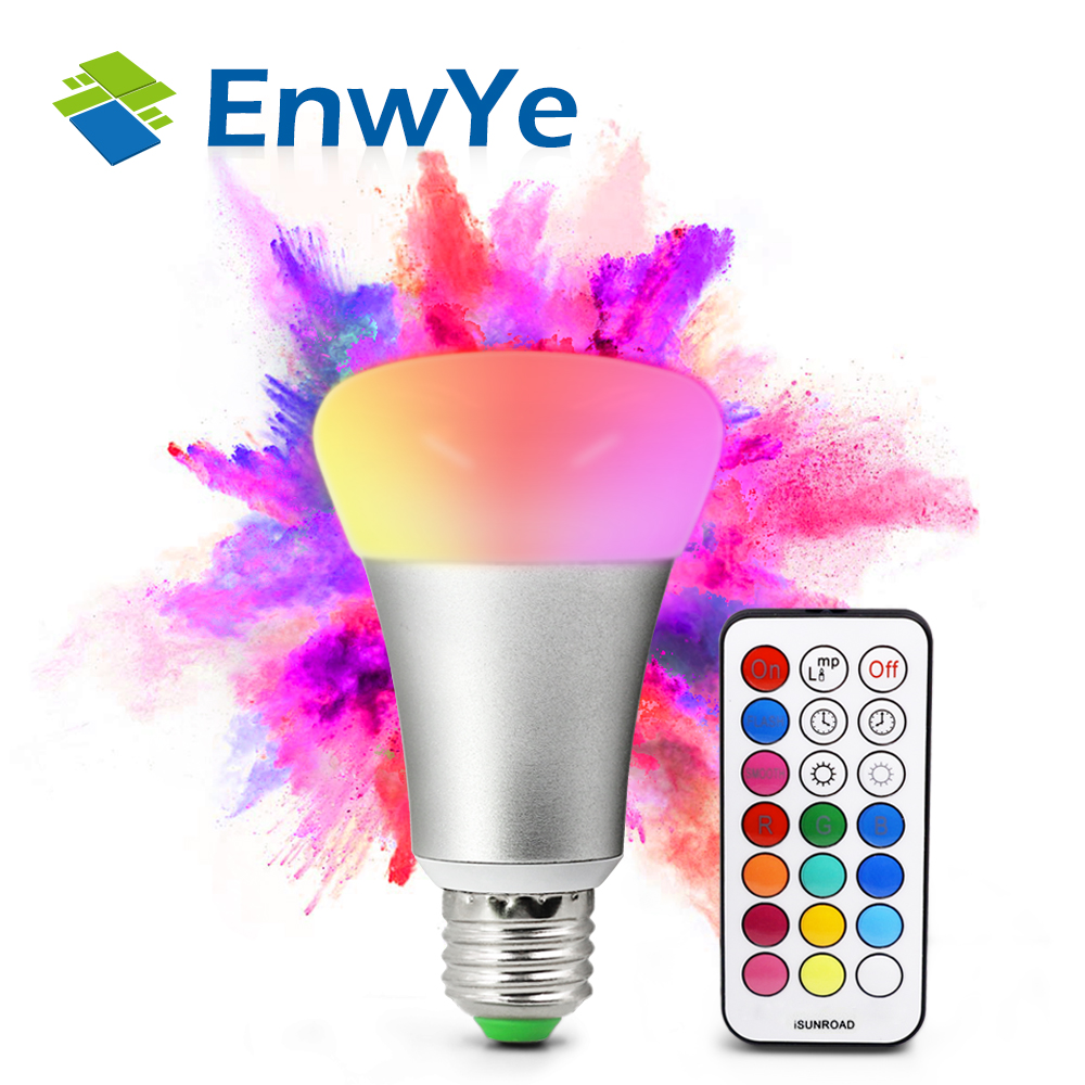 EnwYe Brightness 10W RGB E27 LED Bulb Light Stage Lamp 12Colors with Remote Control Led Lights for Home AC85-265V RGBW/RGBWW jr led e27 10w 500lm led rgb light bulb w remote control white silver ac 85 265v