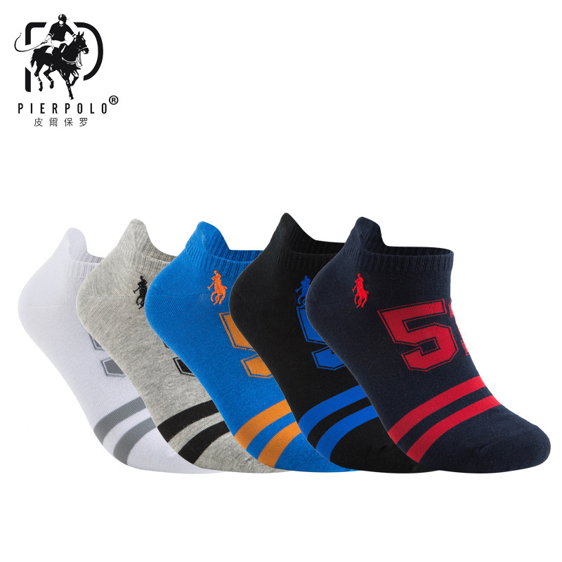 10pcs=5pairs/lot Summer Fashion Funny Brand Polo Men Socks High Quality Cotton Sports Socks Male Ankle Socks Size40-44 Mix Color