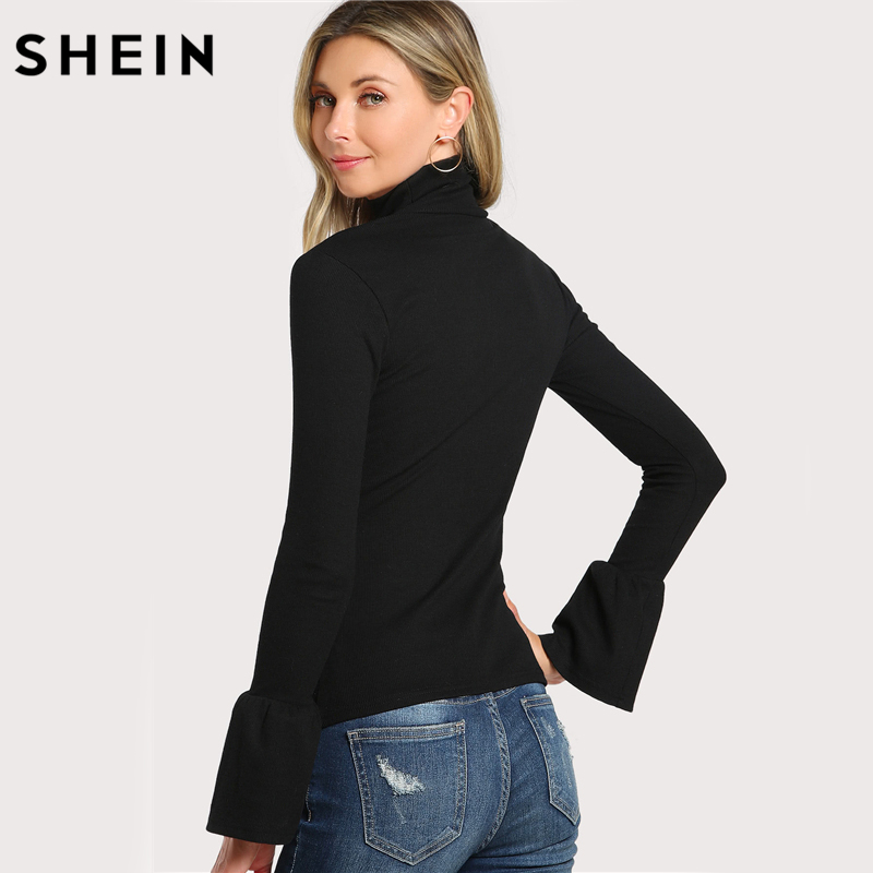 fa2ba19168 SHEIN Bell Cuff Rib Knit Fitted Tee Shirt Autumn Women's Long Sleeve Tops  Black High Neck Work Elegant T shirt Top-in T-Shirts from Women's Clothing  on ...