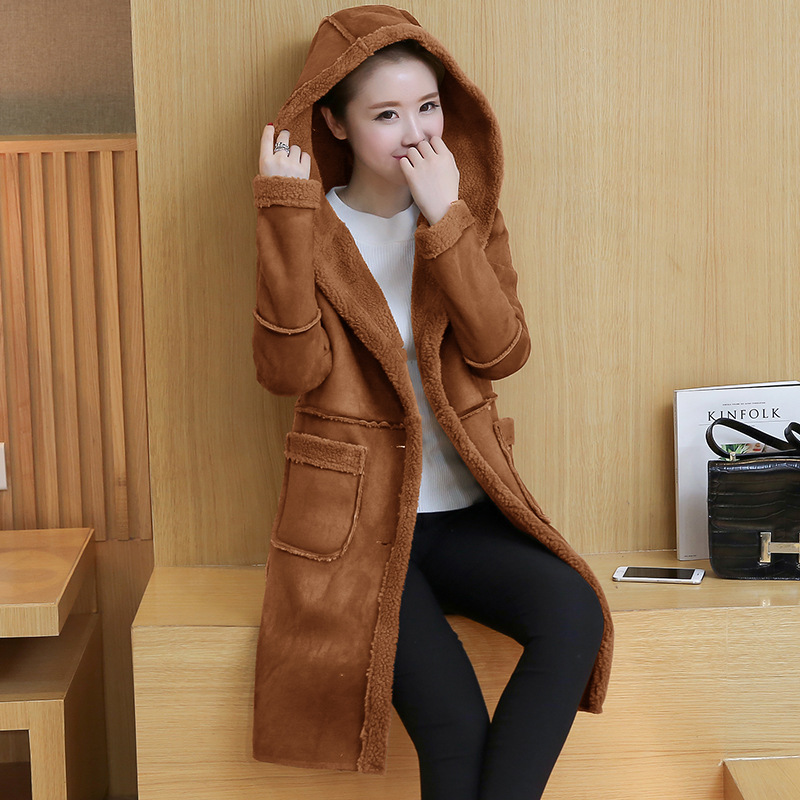 New Women's Thick Long Warm One PCS Wool Faux Fur Coat Jacket Parkas For Women,2 Colors,Size S-XXL inc new beige women s size small s faux leather knit motorcycle jacket $99