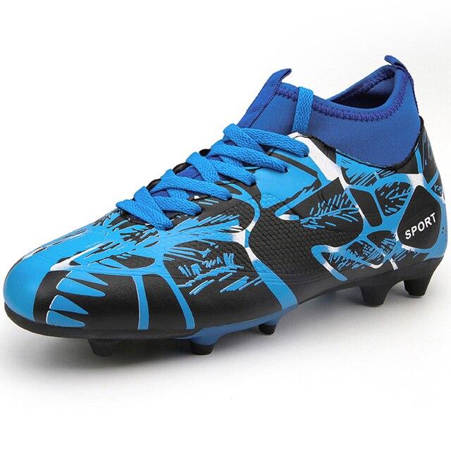 f6497f69c2f9 Высокие длинные шипы Детские кроссовки Обувь для футбола открытый газон  бутсы Turf Мальчики Футбол обувь для