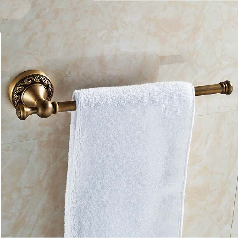 Hot Sale Wholesale And Retail Promotion Antique Brass Wall Mounted Embossed Towel Bar Holder Modern Towel Rack Hanger
