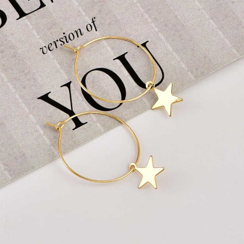 ES207 ใหม่รอบต่างหู 2019 ยอดนิยมแฟชั่นบุคลิกภาพ Pentagram แหวนหูต่างหูหญิงขายส่ง