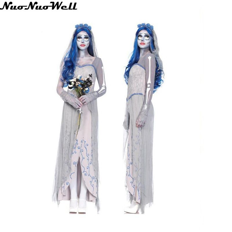 Halloween Wedding Scary Costumes Game Uniforms Role Playing White Costume Female Vampire Zombie Dress Ghost Dead Bride Costume