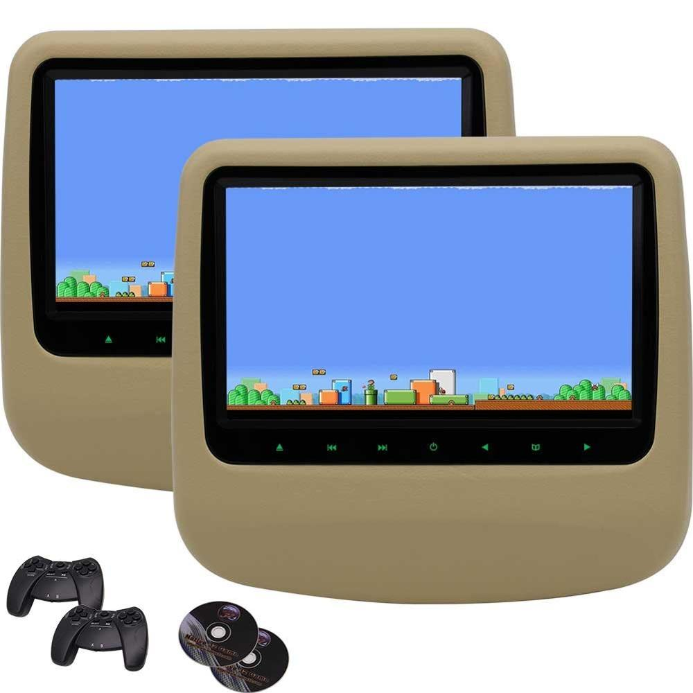 Twin Экран dvd плеер 9 ''цифровой Экран подголовник Мониторы Встроенный динамик/IR/FM передатчик USB/SD HDMI вход 32 бит игры