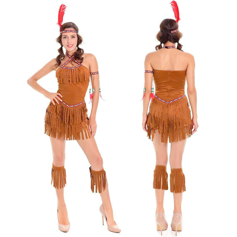 Sexy Women Indian Native Costume Adult Girls Halloween Costume Cosplay Clothing Gypsy -5109