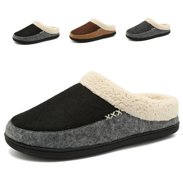 c87a113a2eb Indoor Outdoor Men s Wool Plush Fleece Lined Slip On Memory Foam Clog House  Slippers Men Shoes ...