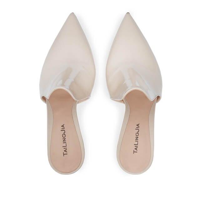 75a4b931b3 US $56.04 5% OFF|Elegant Pointed Toe High Heel Beige Mules Open Back  Sandals Dress Shoes for Women Slip on Summer Heels Mid Heel Large Size  2018-in ...