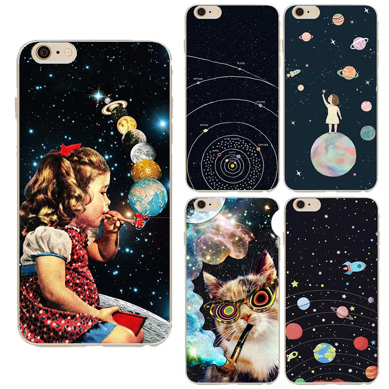 Airship Astronaut Stars Cases For iPhone 5 5s SE 6 6S plus 7 Plus Soft TPU Moon Night High Tech Cosmic Picture Back Cover BA154