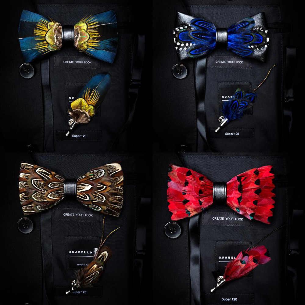 Ricnais Kualitas Mens Bulu Alami dan Kulit Dasi Kupu-kupu Buatan Tangan Pra-diikat Dasi Kupu-kupu Bros dan Set Kotak Hadiah Suit pesta Pernikahan