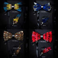 Ricnais Quality Mens Natural Feather and Leather Bow Tie Handmade Pre-tied Bowtie and brooch set Gift Box Suit Wedding Party