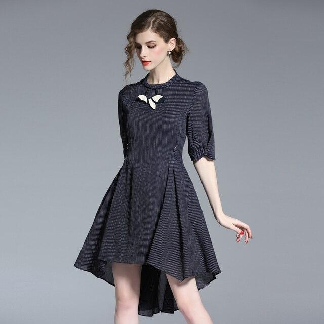 f6782ef5249f Pure Linen 2017 summer Sexy Women Pleated Dress England style Elegant  Irregular Slim beach swallow tail Dresses 17078