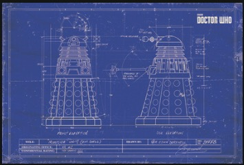 Dalek blueprint doctor who sci fi tv retro vintage classic poster dalek blueprint doctor who sci fi tv retro vintage classic poster canvas painting art wall sticker bar home decor gift in wall stickers from home garden malvernweather Images