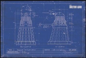 Dalek blueprint doctor who sci fi tv retro vintage classic poster dalek blueprint doctor who sci fi tv retro vintage classic poster canvas painting art wall malvernweather Choice Image