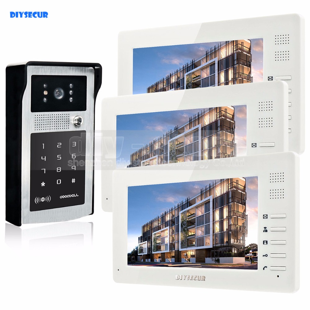 DIYSECUR 7inch HD TFT LCD Monitor Video Door Phone Video Intercom Doorbell 300000 Pixels HD Camera RFID Reader + Password вешала hotata 7701 2 4